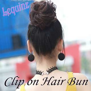 Clip On Curly Hair Bun Drawstring Easy To use ^^