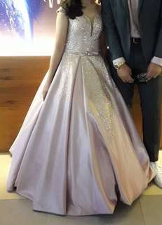 Pink Ball Gown with Glitter Design- prom dress