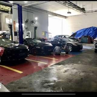 Car workshop mechanic
