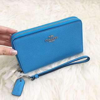 Coach double zipper wallet