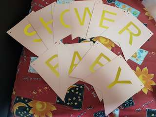 Baby shower banner (pink n gold)