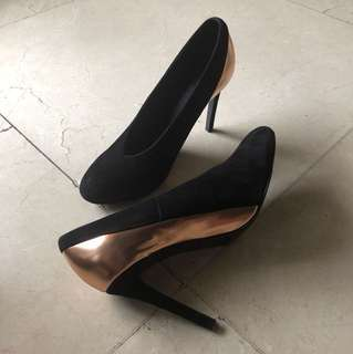 See by Chloe Metallic Pewter and Suede Khai Court Shoes