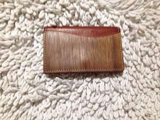 Card holder leather wood