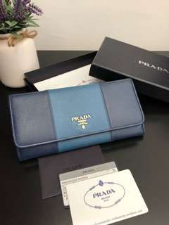 Prada Cobalto + Bluette Saffiano Wallet (Comes with Authentic Card and Box)