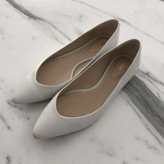 Chloe White Lambskin Leather Flats 37