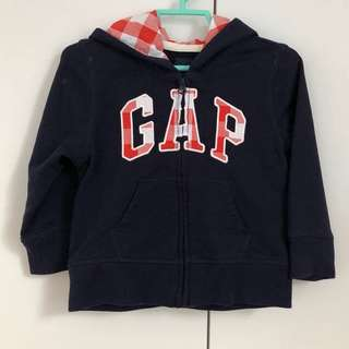 Baby Gap Jacket Navy Blue Sweater with Red Checker Lining Hood