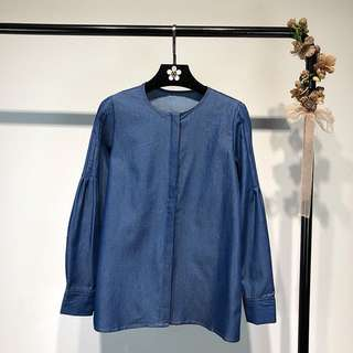 European station 2018 spring new style simple round neck long-sleeved denim shirt bottoming shirt female