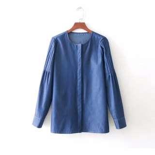 🔥2018 Pleated Seam denim blouse