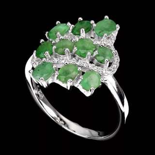 Gorgeous 4x3mm Green Emerald Ring US8