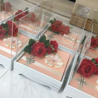 Rose Gold/White Champagne Acrylic Gubahan Trays