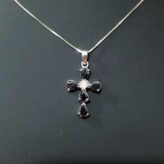 Elegant Obsidian Cross Pendant