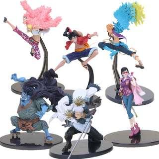 [FREE DELIVERY] Anime One Piece Luffy, Doflamingo, Jinbe, Marco, Smoker and Tashigi Action Figures