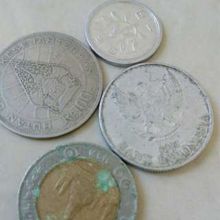 Old Coins and Indonesia and Hong kong