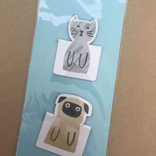 Magnetic Page Markers 2 piece (Cat & Pug)