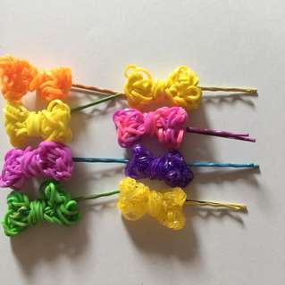 Rainbow Loom Handmade Ribbon Hair Clip