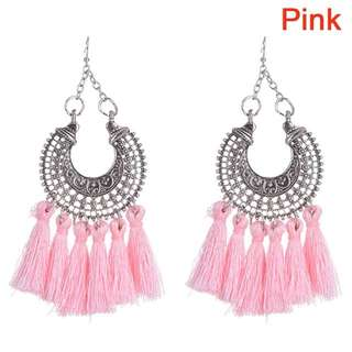 Bohemian fringe long tassel hook drop earrings