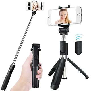 L01 360 Degree Rotatable Extendable Tripod Selfie Stick with Bluetooth Remote Control ---black