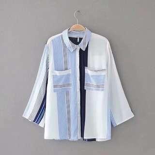 European women's fashion striped shirt blouse