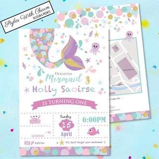 Birthday Card Mermaid Theme