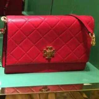 Tory Burch georgia Quilted Shoulder Bag Colour  Red