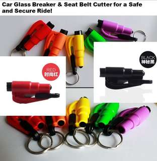 Car door glass breaker and seat belt cutter easy use