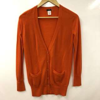 J.crew orange long cardigan size XS
