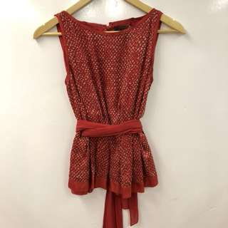 LV louis vuitton red silk vest size 38