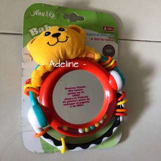 Bear Rattle Teether with mirror