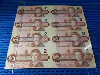 8X Uncut 1986 Canada $2 Note 8 pieces Uncut Dollar Banknote Currency #01