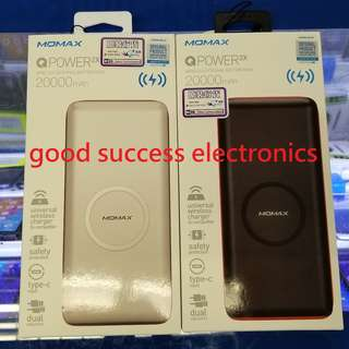 Momax QPower 2X 無線流動電源 20000mAh IP82 支援Qi 產品包括iPhone X、 8、 8 Plus、Samsung S8、Note 8、S7 Edge