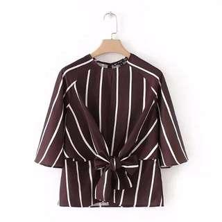 Zaraa Inspired Waist tie Stripe Blouse