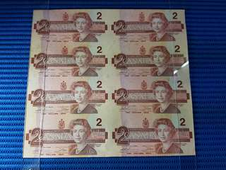 8X Uncut 1986 Canada $2 Note 8 pieces Uncut Dollar Banknote Currency #02