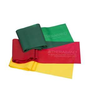 TheraBand Resistance Bands Set, Professional Non-Latex Elastic Band For Upper & Lower Body Exercise, Strength Training without Weights, Physical Therapy, Lower Pilates, & Rehab, Yellow & Red & Green, Beginner