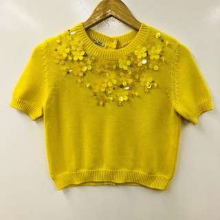 Miu Miu yellow with crystal flowers knitted top size 38
