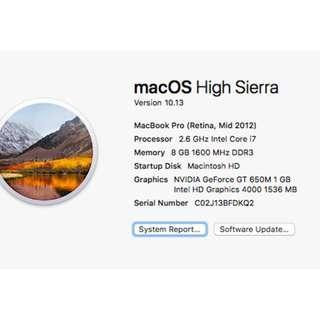 "Mid 2012 MacBook Pro Retina 15"""