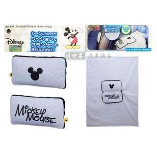 🚚 權世界@汽車用品 日本 NAPOLEX Disney 米奇棉被抱枕 冷氣毯/抱枕/午安枕/腰背靠墊 WD-370