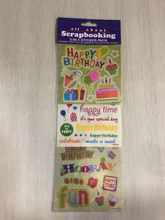 Scrapbooking 3 in 1 stickers - happy birthday theme