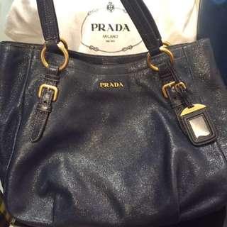 Prada cervo lux leather handbag 手袋 正品 99%極新 閃皮深藍色