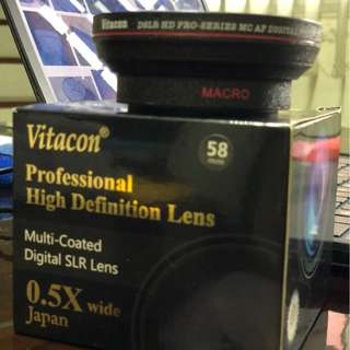 Vitacon 0.5X wide angle lens w/macro, convesion lens