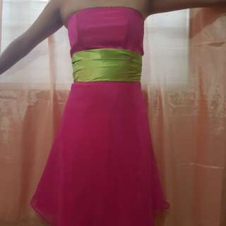 Pink and Green Cocktail Dress