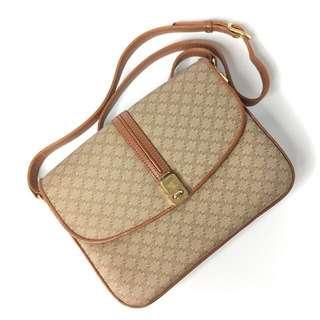真品 況狀良好Auth Celine vintage leather bag 復古真皮側背袋 斜背手袋