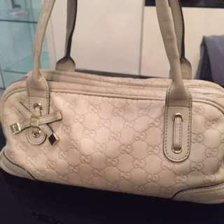 Gucci Beige Guccissima leather handbag real 正品 手袋 90%新 羊皮
