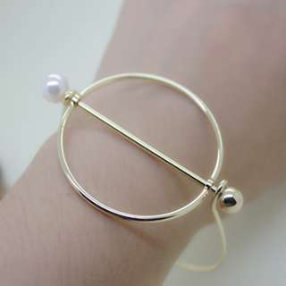 Minimalistic Gold Plated with Pearl Bangle and Ring Bundle