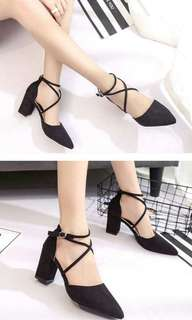 PO korean strappy chunky heels shoes * waiting time around 12 days  after payment is made *pm if int