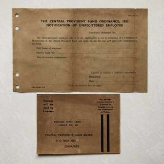Vintage Old Document - Singapore 1953 UNUSED Central Provident Fund Ordinance Notification of Unregistered Employee (rare) (set of 2)