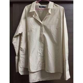 韓國SPAO杏色條紋襯衫