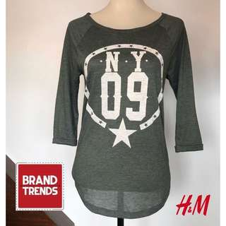 DIVIDED by H&M 3/4 Sleeve Top/Blouse Charcoal Gray