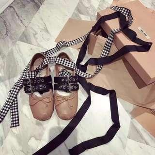 Miumiu ballet shoe brown