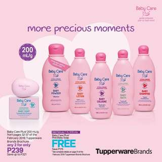 Baby Care Plus Hypoallergenic Baby Bath, Baby Powder, Baby Shampoo and Baby Cologne 200mL.    Tupperware Brands