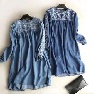 European and American women's fashion embroidery denim dress